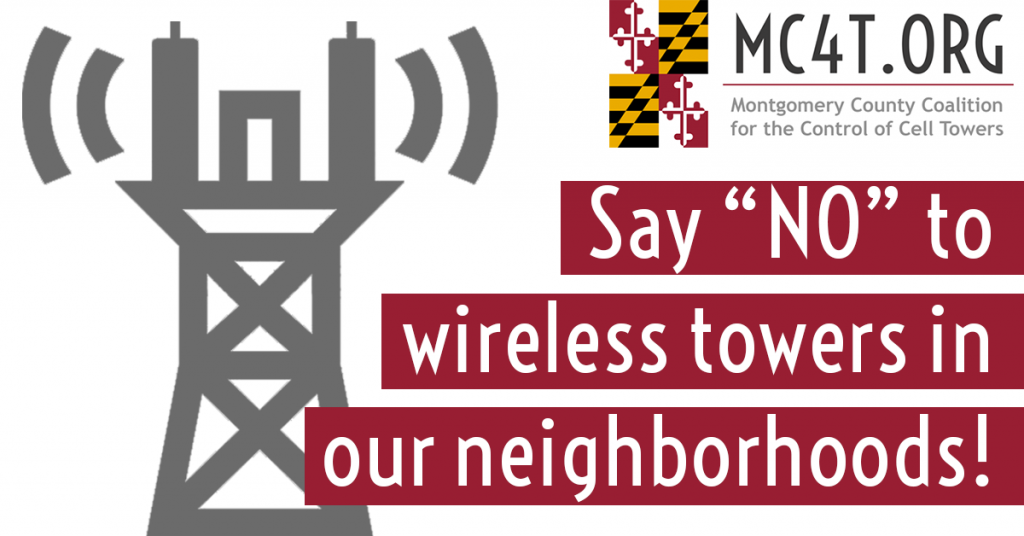 """Say """"No"""" to wireless towers in our neighborhoods! graphic"""